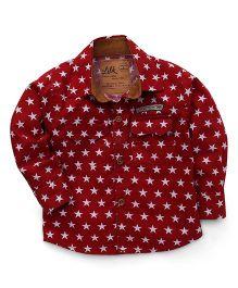Little Kangaroos Full Sleeves Star Print Shirt - Red