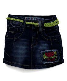Vitamins Denim Skirt With Belt - Blue