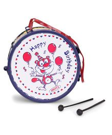 Luvely Musical Drum Toy Happy Birthday Print - Blue White