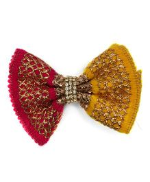 Pink Velvetz Zari Embroidered Bow Hair Clip - Magenta & Yellow