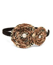 Pink Velvetz Rolled Animal Print Hair Band - Brown & Black
