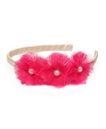 Pink Velvetz Trio Flower With Pearl Hair Band - Hot Pink