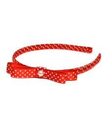 Pink Velvetz Polka Dot Hair Band With Bow - Red