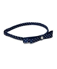 Pink Velvetz Polka Dot Hair Band With Bow - Navy Blue