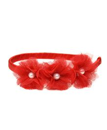 Pink Velvetz Trio Flower With Pearl Hair Band - Red