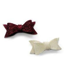 Pink Velvetz Glittery Felt Bow Hair Clip Pair - White & Brown
