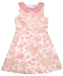 Teeny Tantrums Jacquard Dress With Hand Beaded Detachable Pearl Collar - Pink
