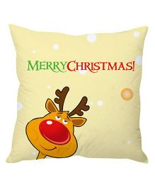 StyBuzz Cushion Cover Merry Christmas Print - Yellow