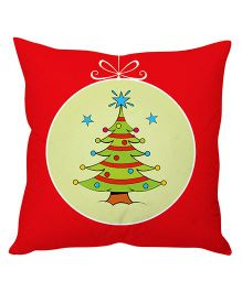 StyBuzz Christmas Tree Print Cushion Cover - Red