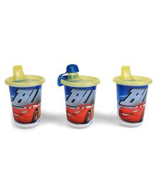 Disney International Cars Take And Toss Spill Proof Cup Blue Yellow - Set Of 3