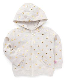 ToffyHouse Hooded Sweat Jacket Heart Print - Fawn