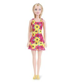 Barbie Doll In Floral Print Dress Pink And Yellow - 29 cm