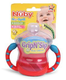 Nuby No Spill Grip N Sip Cup Red Blue - 240 ml