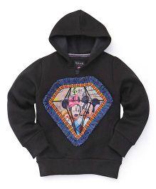 RVK Diamond Printed Sweatshirt With Hoodie - Black