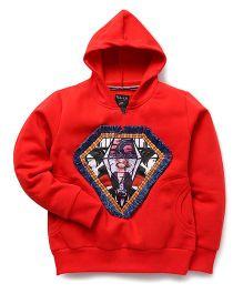 RVK Diamond Printed Sweatshirt With Hoodie - Red