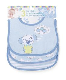 Honey Bunny Terry Bibs Pack of 3 - Blue & White
