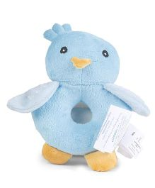 Honey Bunny Bird Shape Ring Rattle - Blue