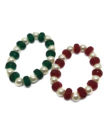 Tiny Closet Pearl Bracelet - Red & Green