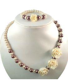 Tiny Closet Rose Pearls Necklace & Bracelet Set - Light Purple & Cream
