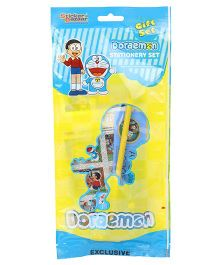 Sticker Bazaar Doraemon Stationery Set Pack Of 7 - Blue Yellow