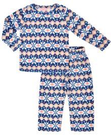 CrayonFlakes Super Soft Jacquard Polar Fleece Top & Bottom Set - Blue