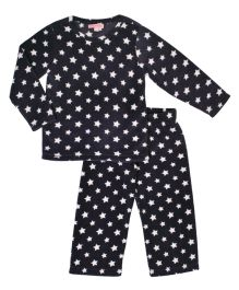CrayonFlakes Star Print Polar Fleece Top & Bottom Set - Black