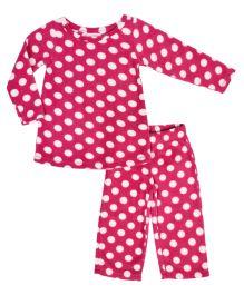 CrayonFlakes Polka Dot Print Polar Fleece Top & Bottom Set - Magenta