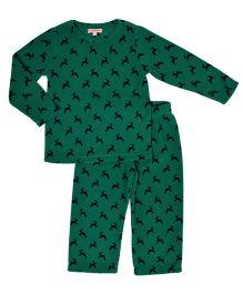 CrayonFlakes Super Soft Reindeer Print Polar Fleece Top & Bottom Set - Green