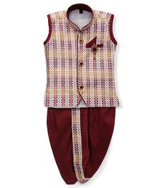 Kids Kcare Classic Kurta & Dhoti Set With Brooch - Brown