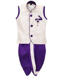 Kids Kcare Sleeveless Brocade Kurta & Dhoti Set With Brooch - White & Purple