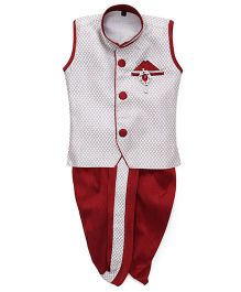 Kids Kcare Sleeveless Kurta & Dhoti Set With Brooch - White & Maroon