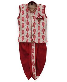 Kids Kcare Sleeveless Paisley Kurta & Dhoti Set With Brooch - Red