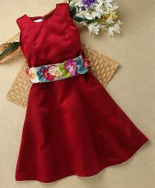 Shu Sam & Smith Floral Fairy Dress With Flowers On Belt - Maroon