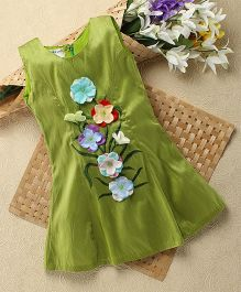 Shu Sam & Smith Tabitha Dress With Stitched Flowers & Embroidered Leaves - Green