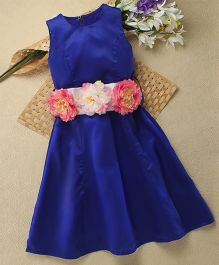 Shu Sam & Smith Doris Dress With Belt With Flowers - Blue