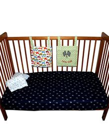 Kadambaby Premium Flannel Flat Crib Sheet Vehicle Print - Black