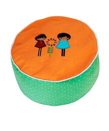 Kadambaby Ottoman Pouf Cover Embroidery - Orange Green