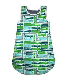 Kadambaby Quilted Sleeping Bag Bus Print Blue Green - 83 cm