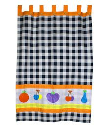 Kadambaby Check Window Curtain With Lining - Black White