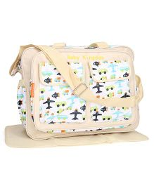 Airplane Print Mother Bag With Changing Mat - Cream