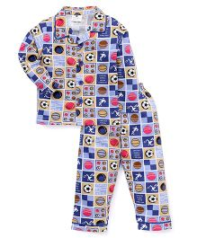 Olio Kids All Over Print Full Sleeves Night Suit - Blue