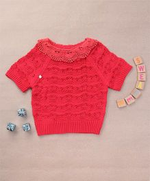 Superfie Knitted Top For Girls With Embroidered Collar - Red