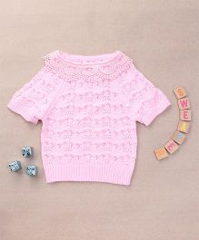 Superfie Knitted Top For Girls With Embroidered Collar - Pink