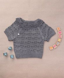 Superfie Knitted Top For Girls With Embroidered Collar - Grey