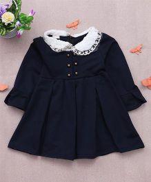 Superfie Peter Pan Collar Winter Warm Dress For Girls - Navy Blue