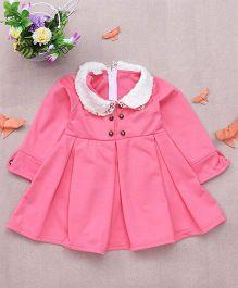 Superfie Peter Pan Collar Winter Warm Dress For Girls - Peach
