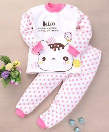 Superfie Cat Print Polka Dot Winter Night Set - White & Pink
