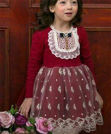 Cherubbaby Pretty Winter Dress - Maroon