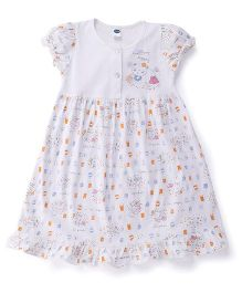 Teddy Puff Sleeves Frock Shopaholic Print - White Blue