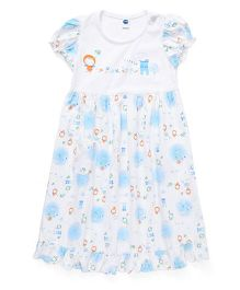Teddy Puff Sleeves Nighty Little Print - White Sky Blue